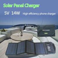 Hot 14 Watt hohe Effizienz Faltbare Sunpower Solarpanel Ladegerät Dual Ausgänge Solar Power Bank Camping Ladegerät für Handy