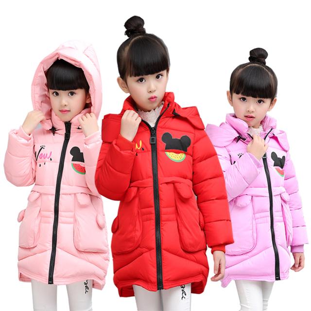 2016 crianças outerwear bebê meninas Jaqueta Crianças Casaco de algodão Com Capuz casacos de Inverno das crianças Meninas roupas de inverno Down & Parkas