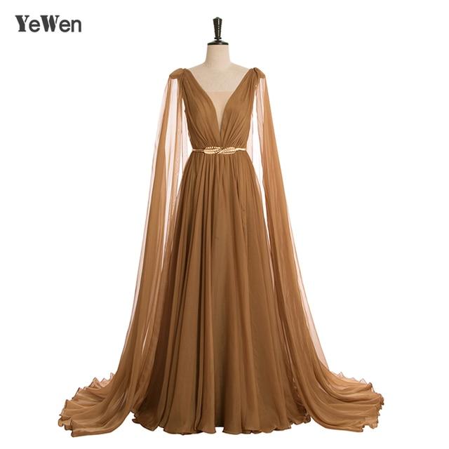 High-eng Luxury Gold Belt Long Sleeve Formal Evening Dress 2019 Tencel robe de soiree Elegant Sexy Prom Formal Dresses YeWen