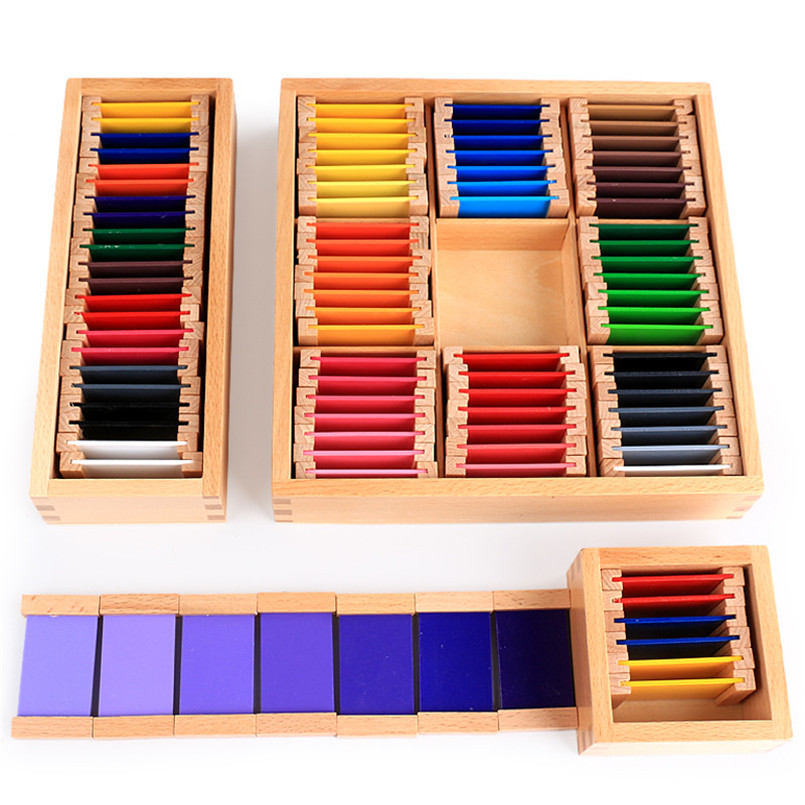 Wooden Montessori Sensorial Material Colorful Tablet Box Wood Puzzle Toy Educational Children Kids Preschool Puzzles  Toys Gifts