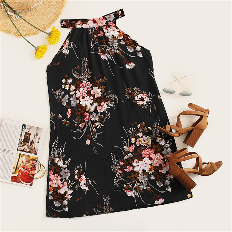 COLROVIE Black Floral Print Tie Back Halter Boho Summer Dress Women 2019 Sleeveless Holiday Short Dress Shift Ladies Dresses 7