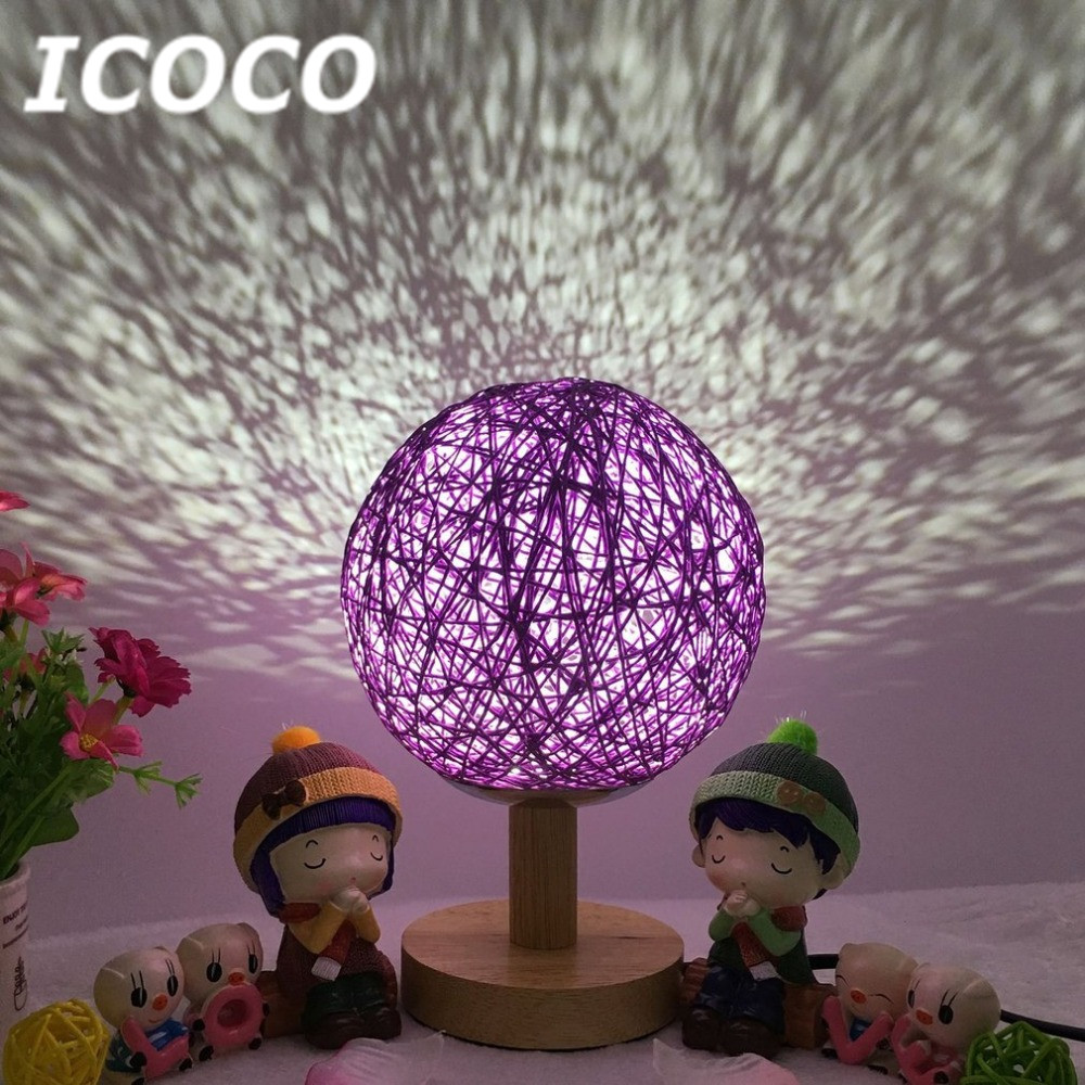 ICOCO Romantic Rattan Ball Projector Night Light Wood Base Round Lampshade Home Decor Bedside Desk Lamp for Xmas Birthday Gift