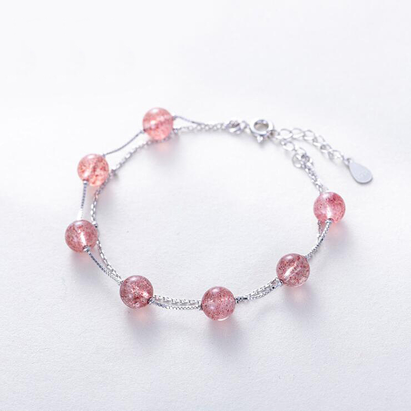 Ruifan Double Layer Bracelets Ladies Natural Strawberry Quartz 925 Sterling Silver Bracelet for Women Lucky Charm Jewelry YBR097