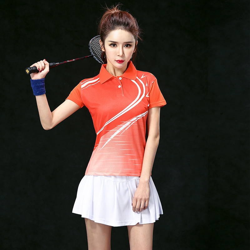 Free Print Badminton Team sets Female , Women's Tennis clothes sets ,Tennis wear uniforms , Tennis sets ,Orange set 5059B