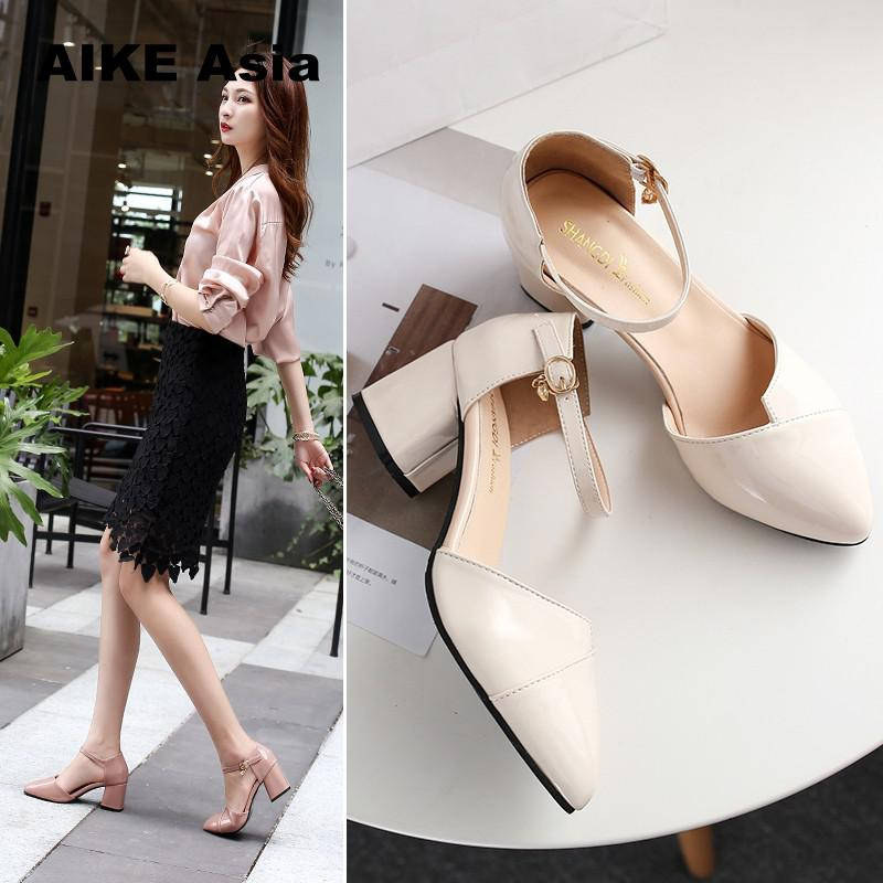 Heels Women Pumps Two Piece Thick Heels Ladies Party Pink Shoes Summer Buckle Ankle Strap Footwear Zapatos Mujer Sandals
