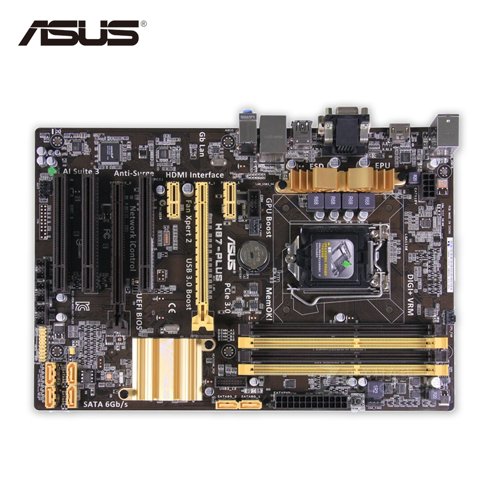 Original Used Asus H87-PLUS Desktop Motherboard H87 Socket LGA 1150 i7 i5 i3 DDR3 32G SATA3 UBS3.0 ATX 100% Fully Test asus h87 plus deluxe board 1150 b85 motherboard