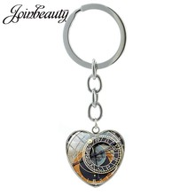 JOINBEAUTY Butterfly Photo Heart Pendant Keychain Astronomical Clock Watch Key Chain Charms for Keys Car Keys Accessories HP154(China)