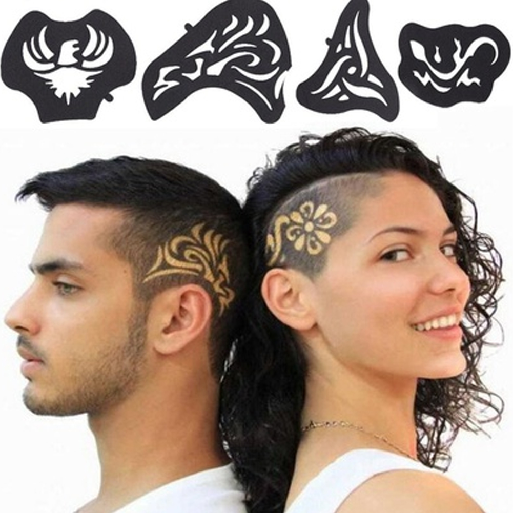 25 Pcs/Set Hair Tattoo Template Hair Carved Men Tattoos Patterns Salon Barber Tools Hair Accessories