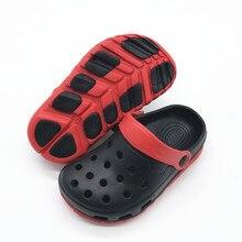 """Детские летние комплекты одежды для маленьких мальчиков, состоящие из летней сандалии детские туфли с рисунком «крокодил» пляжные сабо садовые шлепанцы обуви для мальчиков преддошкольного возраста с проектом """"EU24-29 US5-10 EU30-35 US11-3"""