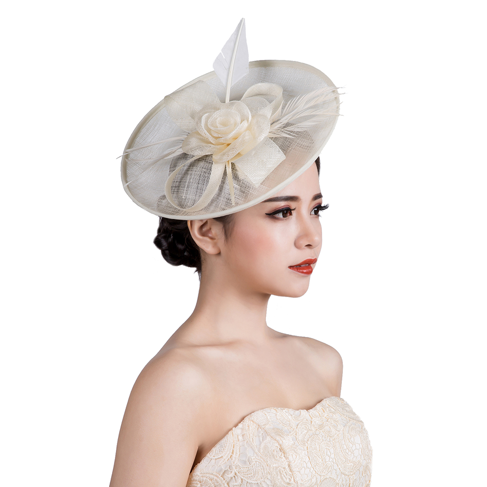 3Colors Woman headwear vintage royal sinamay fascinator hat flower feather fascinators hair accessories wedding party hairband ming dynasty emperor s hat imitate earthed emperor wanli gold mesh hat groom wedding hair tiaras for men 3 colors