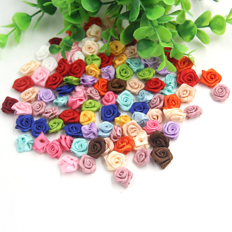 100PCS/Lot Handmade Satin Rose Ribbon Rosettes Fabric Flower Bow Appliques For DIY Wedding Decoration Craft Sewing Accessories
