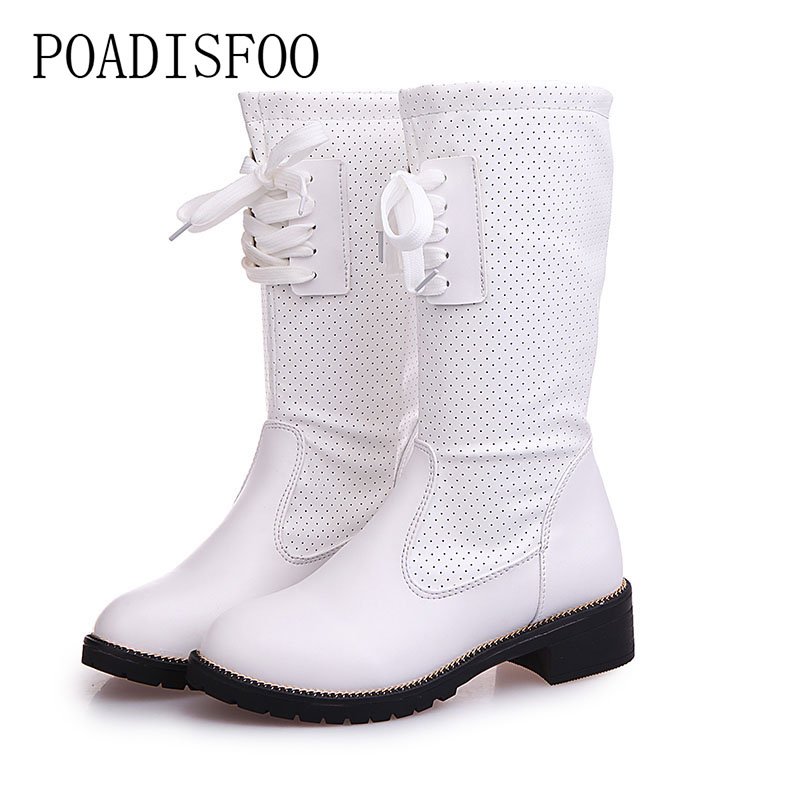 POADISFOO 2017 winter women Boots  Western Round Toe Mid-Calf Boots Casual shoes Shoes Lace-Up Breathable  boot .XL-XZ01 fashion pointed toe lace up mens shoes western cowboy boots big yards 46 metal decoration
