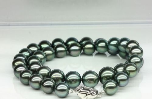women gift word Jewelry Silver Clasp 17INCH AAAA  HUGE 11-12mm Tahitian genuine black peacock blue green round pearl necklace