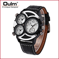 new design quartz PC21S movt three time zone men watch HP3594-2 leatheroid belt colorful wristwatches