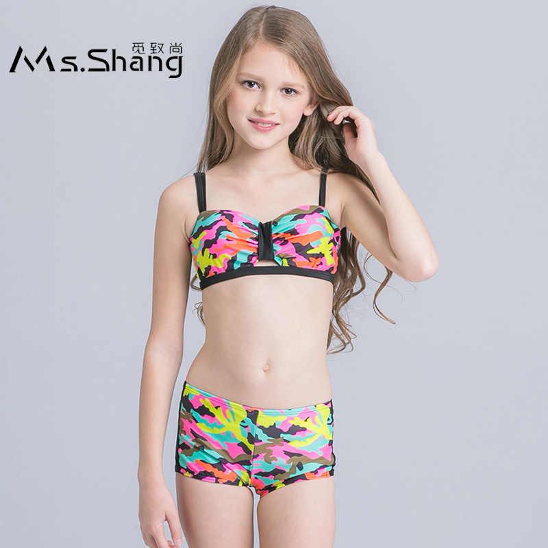 45d69487c32 2019 New Girl Swim Wear Camouflage Print Kids Swimsuit Teenager Girl Bikini  Set Push Up Two