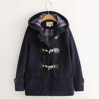 New Autumn Winter Casual Coat Women S Horn Button Woolen Slim Hooded Solid Warm Lolita Female