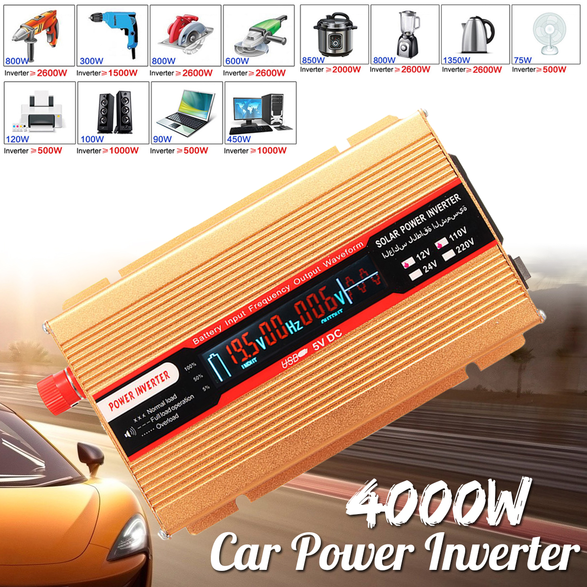 USB PEAK 4000W 12/24V To AC 220/110V Car Power Inverter Voltage Transformer Modified Sine Wave Converter for Various Appliances peak 4000w 12 24v to ac 220 110v car power inverter usb modified sine wave converter voltage transformer for various appliances