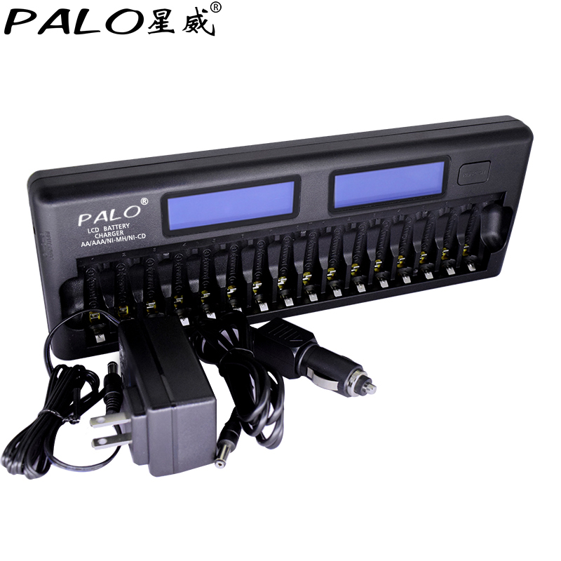 цена на PALO 16 Slots LCD Smart Battery Charger AA AAA Ni-MH Ni-Cd 16 bay Batteries 16 Bank Rechargeable Batteries Smart LCD Display