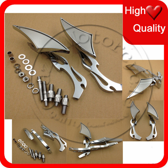 US $37 0 |Motorcycle parts Rearview Mirror Blade Spear rearview mini side  mirrors For Harley Davidson Yamaha bike Chrome trong Motorcycle parts