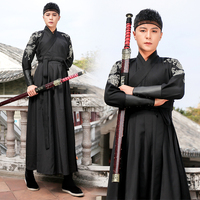 Hanfu Men Ancient Chinese Costume Black Wushu Clothing Traditional Ancient Stage Outfit Qing Dynasty Suit Performance DNV11614