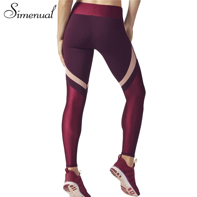Simenual Push up sportswear leggings for women 2017 bodybuilding slim sexy wine red legging female pants patchwork jeggings sale