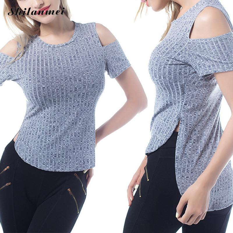 Shilanmei Cold Shoulder Short Sleeve blouse shirt Women summer Knitted tops O Neck blouse female christmas hollow out blusas