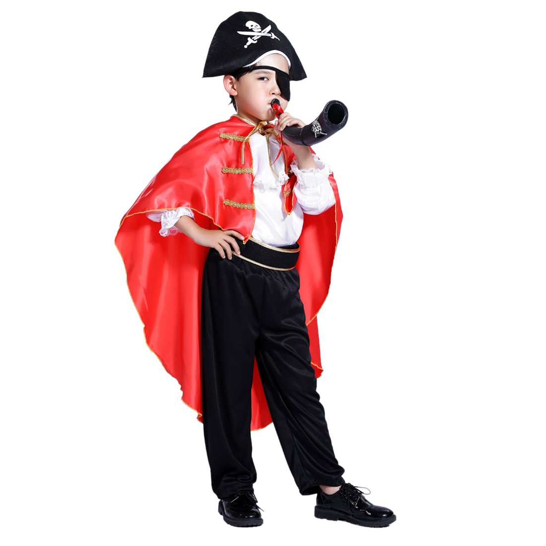 Kid's Party Halloween Pirate Cosplay Suit Captain Jack Costume Set for 4-6 Years Old - M L XL Size
