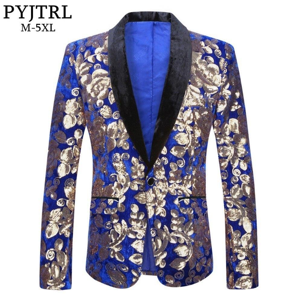 PYJTRL Hommes Élégant Châle Revers Bleu Royal Velours Slim Fit Blazer Plus La Taille 5XL Or Floral Paillettes DJ Chanteur De Mariage costume Veste