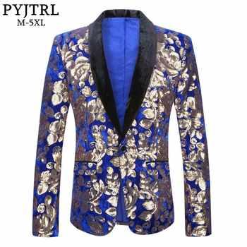 PYJTRL Men Stylish Shawl Lapel Royal Blue Velvet Slim Fit Blazer Plus Size 5XL Gold Floral Sequins DJ Singer Wedding Suit Jacket - DISCOUNT ITEM  50% OFF All Category