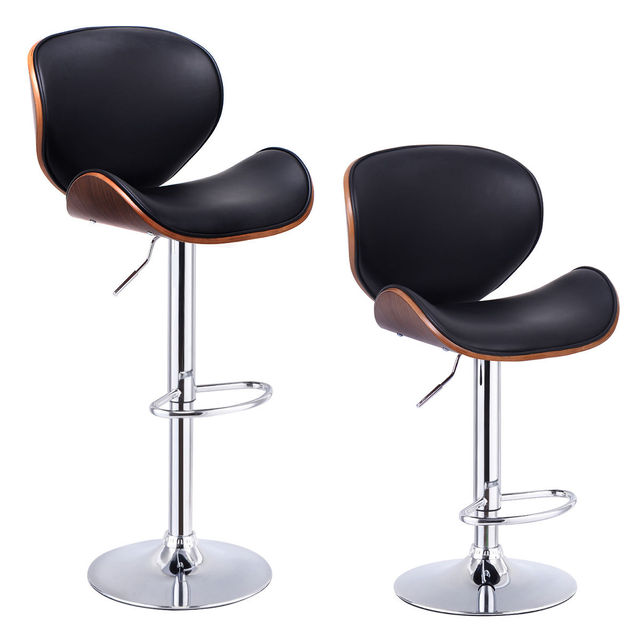 Giantex Set Of 2 Adjustable Swivel Wood Bar Stools PU Leather Modern Pub Chairs  Stylish Wooden