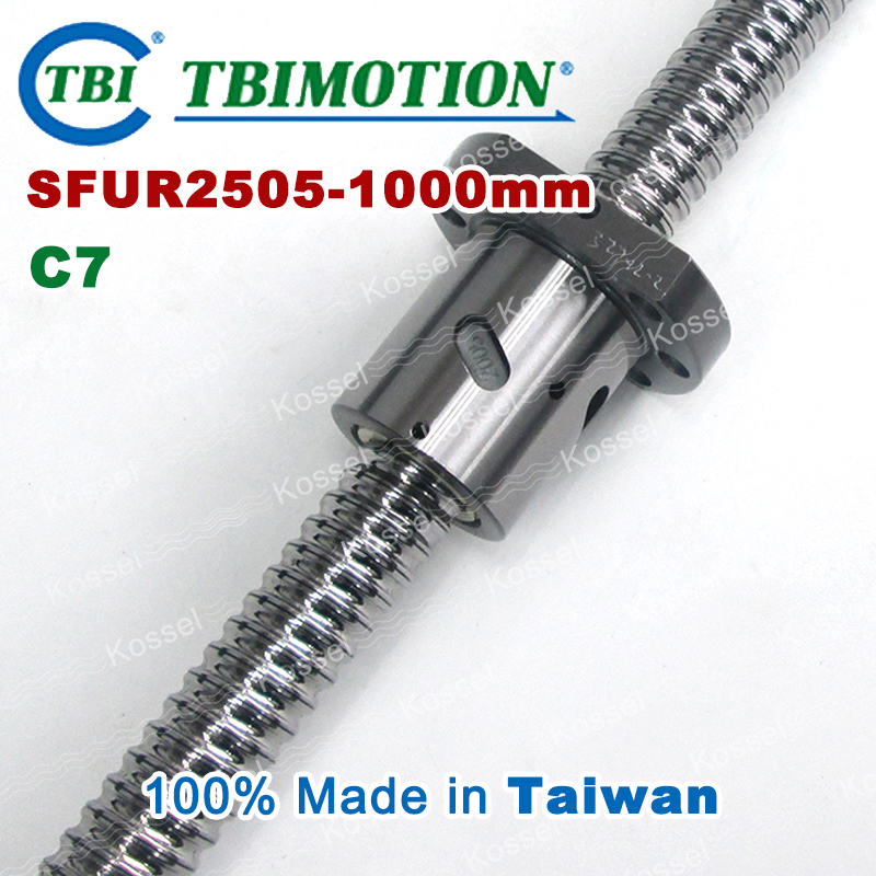 Hot Sale BallScrew assembly  SFU2505 -1000mm ball screw SFU2505 ball nuts and end machined for high stability linear CNC diy kit tbi dfi 2505 600mm ball screw milled ballscrew and end machined for high stability linear cnc diy kit
