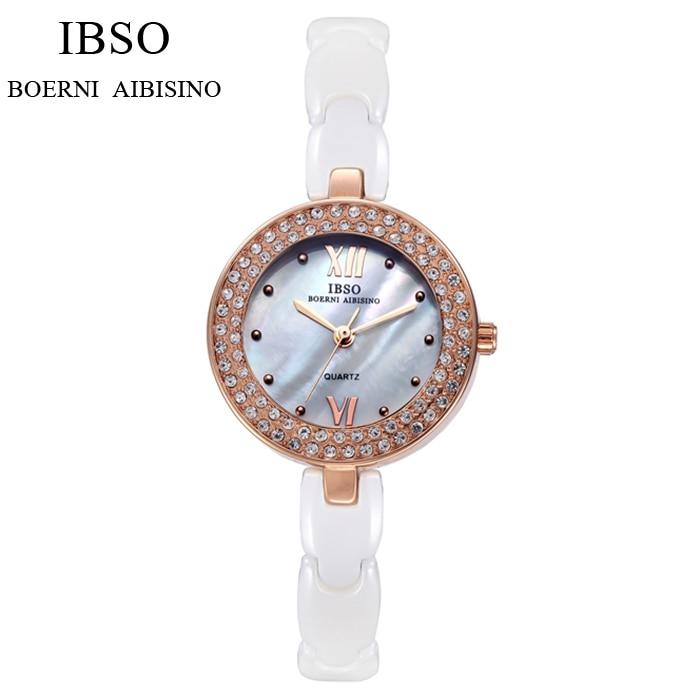 IBSO Fashion Ceramic Band Women Crystal Wrist Watch Female Luxury White Analog Quartz Watch Relogio Feminino IB15 stylish bracelet band women s quartz analog wrist watch coffee golden 1 x 377