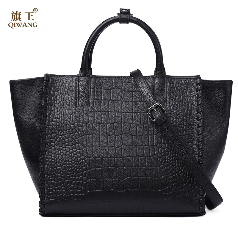 QIWANG Real Leather Women Handbag Brand Design Bag Handmade Woven Side Trapeze Tote Bag for  Office Women Fashion Daily Purse qiwang elegant python pattern blue genuine leather hand bag large flap luxury fashion women handbag blue office lady daily purse
