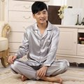 New Solid  Men  Cartoon Leisurewear V-neck  Pajamas Suits  Homewear Long Sleeve Sleepwear