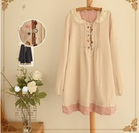 21015 Spring New Arrival Mori Girl Hollow Out Peter Pan Collar Cute Buttons Long Sleeve Dress