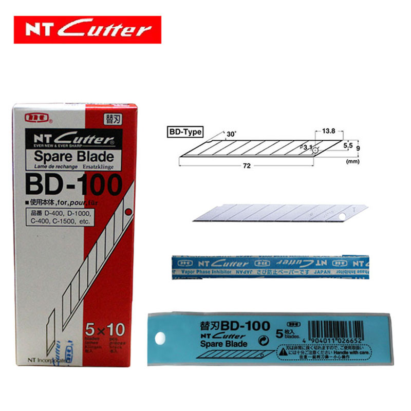 Japan Spare Replacement Blade BD-100 Small Art Blade 9mm 30 Degrees 50blades/Pack For D-400 D-1000 C-400 C-1500