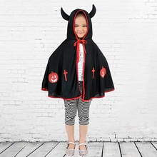 2018 Children Halloween Constume Cosplay Clothing Little Devil Printing Poncho Night Party Fancy Dress Carnival z1