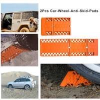 2 pcs Folding Resgate Carro Roda de Carro Almofada Anti Skid Pad Para A Terra de Neve Lama Do Solo