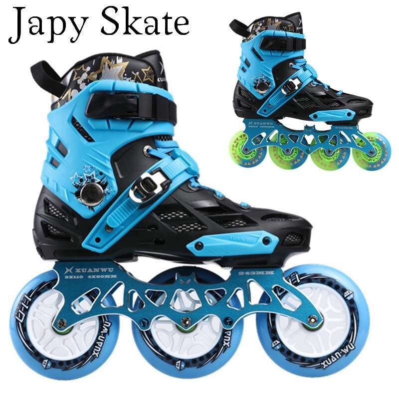 Japy скейт-Профессиональный для взрослых роликовых коньках обувь 4*80 или 3*110 мм Сменные слалом Скорость Patines Бесплатная катание Коньки