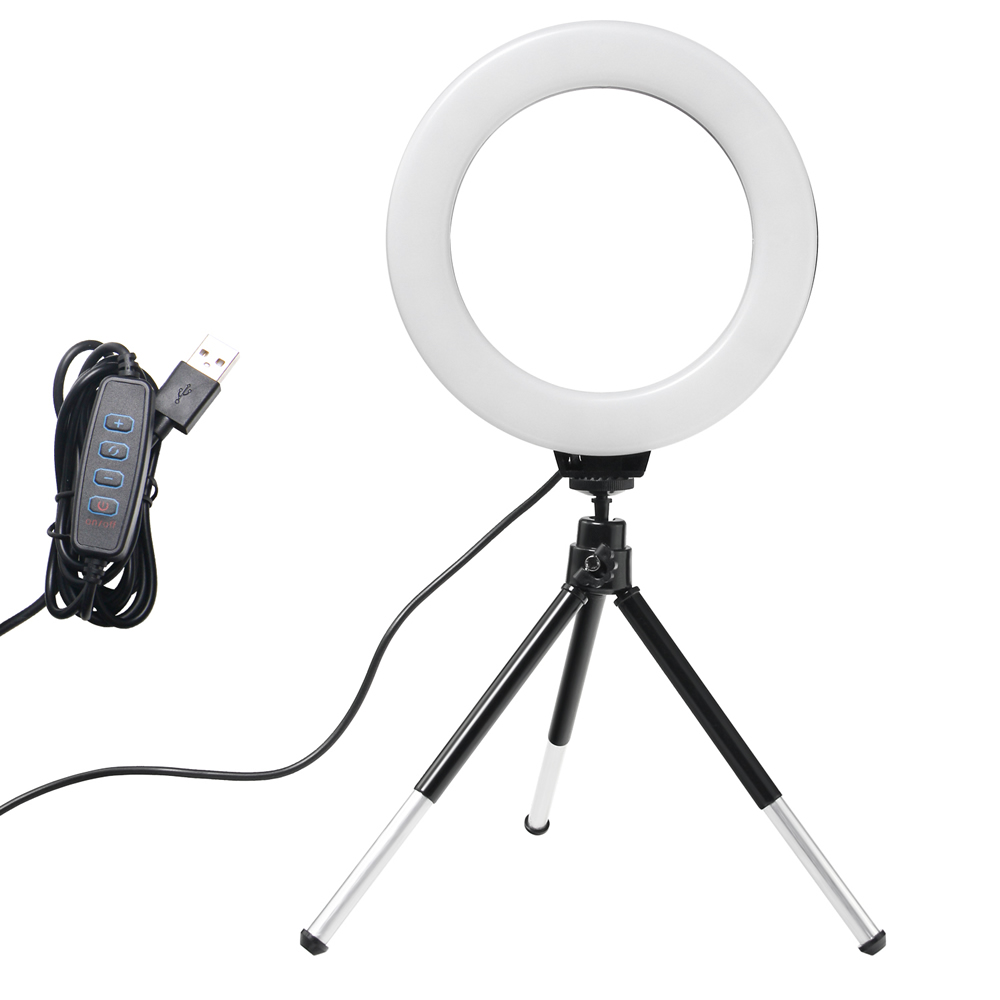 6inch Mini LED Desktop Video Ring Light Selfie Lamp With Tripod Stand USB Plug For YouTube Tik Tok Live Photo Photography Studio