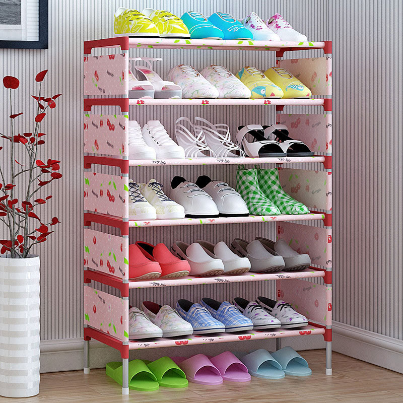 100x58x26cm:  Shoe cabinet 6-grid Non-woven fabric Metal 100x58x26cm Portable Shoe rack organizer removable shoe storage home furniture B442 - Martin's & Co