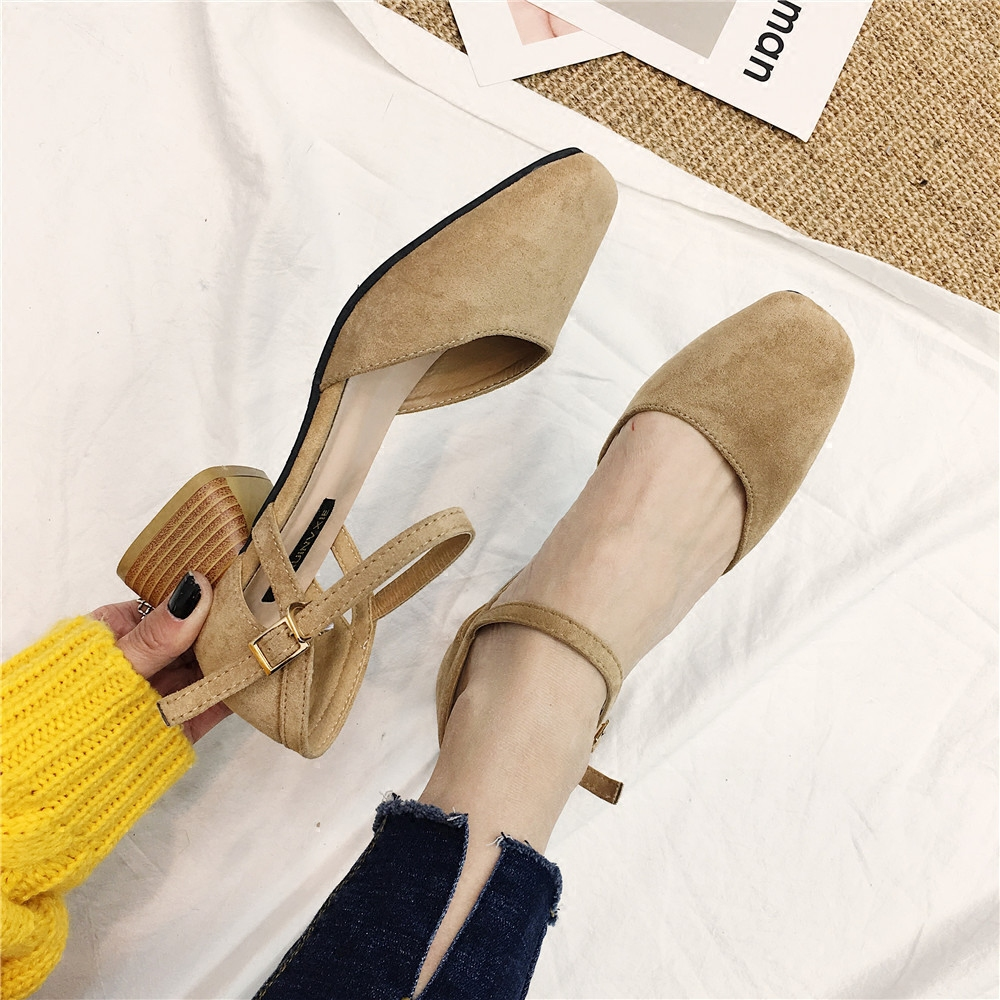 closed square toe roma sandals women ankle strap flock gladiator sandalias mujer 2018 chunky heel all-match summer shoes y626 4