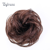 Bynrana 5 Colors Brazilian Hair Remy Hair Curly Human Chignon With Rubber Band Hair Extension