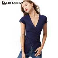 GLO STORY 2017 New Arrivals European Style Fashion T Shirt Women Tops Summer Short Sleeve Womens
