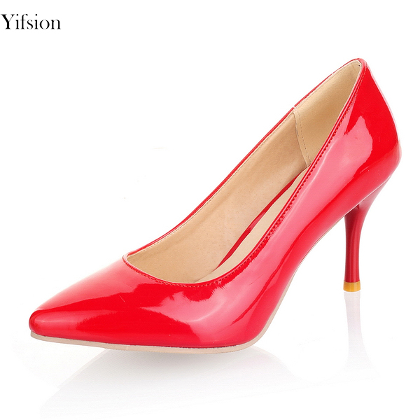 Yifsion Hot Women Shiny Pumps Sexy Thin High Heels Pumps Pointed Toe Ladies Black Red Nude Party Office Shoes Women US Size 3-15 big size 40 41 42 women pumps 11 cm thin heels fashion beautiful pointy toe spell color sexy shoes discount sale free shipping