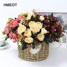 1 букет из искусственной шелковой ткани на 9 головок, искусственные цветы, листья пиона, цветы для дома, свадьбы, вечеринки, домашний декор, ма...