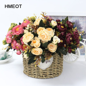 1 Bouquet 9 head Artificial Silk cloth Fake Flowers Leaf Peony Floral Home Wedding Party home Decor Blue Tea rose small bouquet