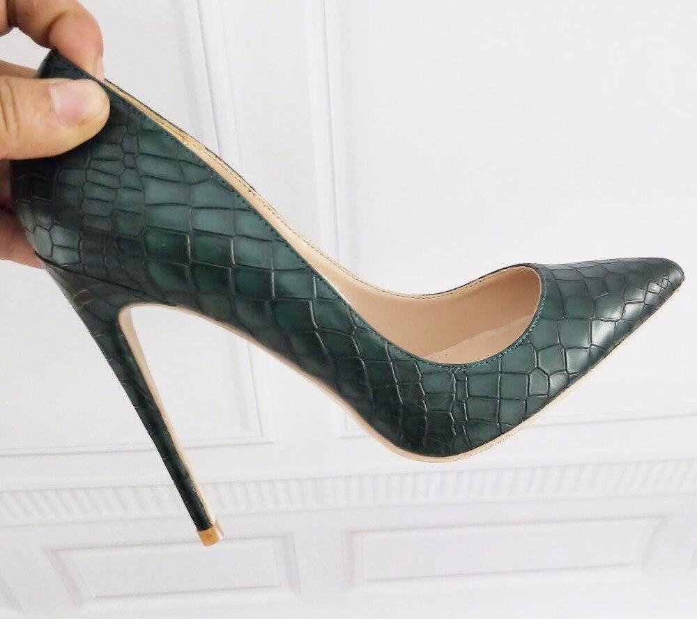 Темно-зеленые женские туфли на высоком каблуке 12 см/см 10 см/8 см, пикантные туфли-лодочки с острым носком, маленькие размеры 33, 34