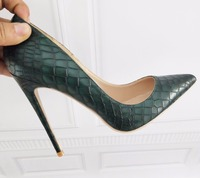 Dark Green Women's Shoes High Heel 12cm / 10cm / 8cm Heel Sexy Tip Pumps Shoes Small Size 33 34