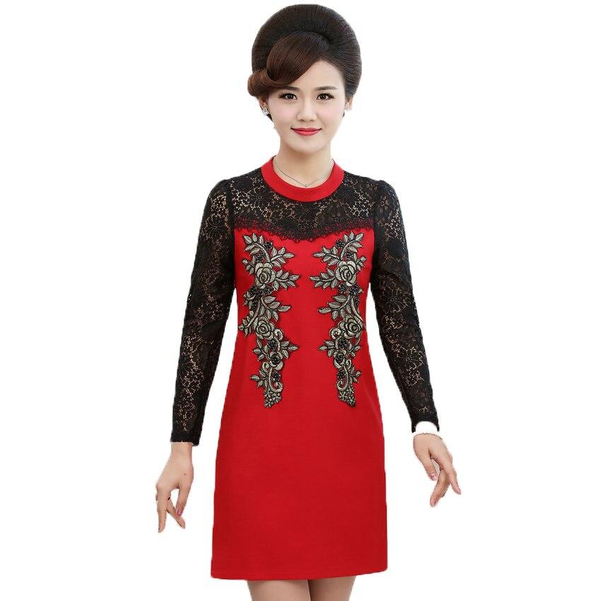 0d95ea7ba8c WAEOLSA Middle Aged Woman Elegant Dress Red Black Flower Robe Femme Lace  Long Sleeve Dresses Chic Classy Crochet Dress For Women